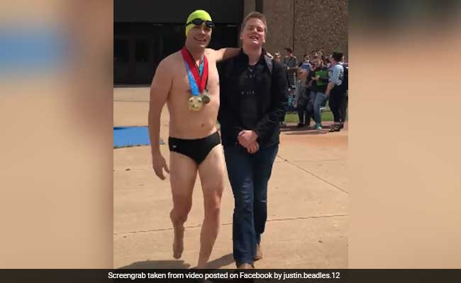 Dad Picks Up Son From School Wearing Just Swimming Trunks. Prank Is Viral