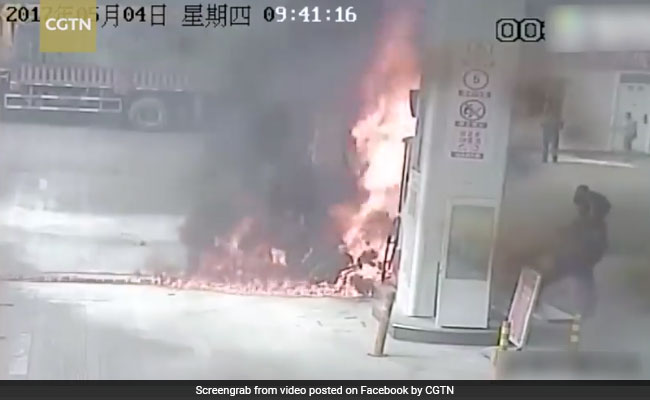 Man Sets Bike On Fire At Gas Station. Watch What The Staff Does Next
