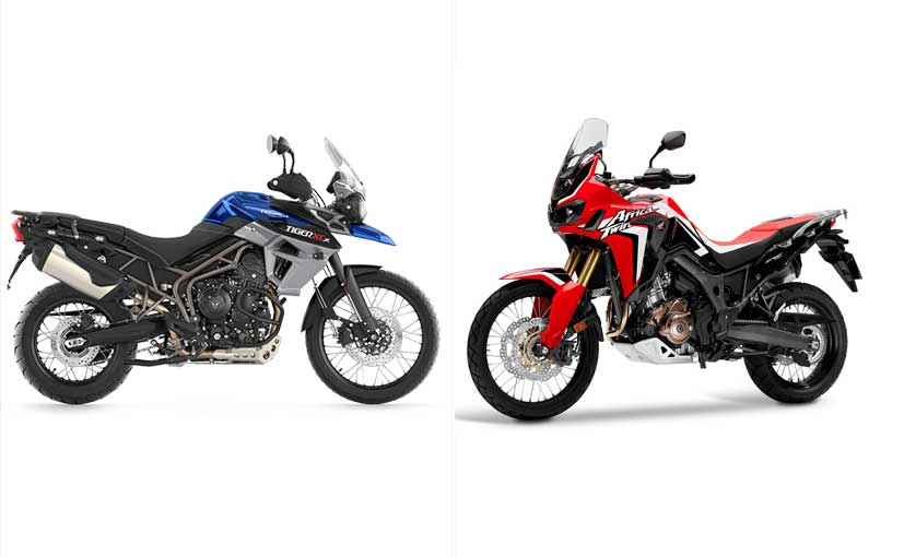 honda africa twin vs triumph tiger 800 xcx specifications comparison ndtv carandbike. Black Bedroom Furniture Sets. Home Design Ideas