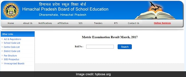 hpbose class 10th result 2017