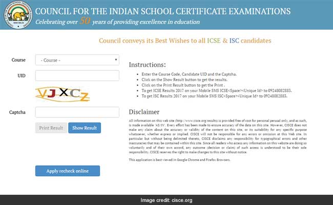 icse results page