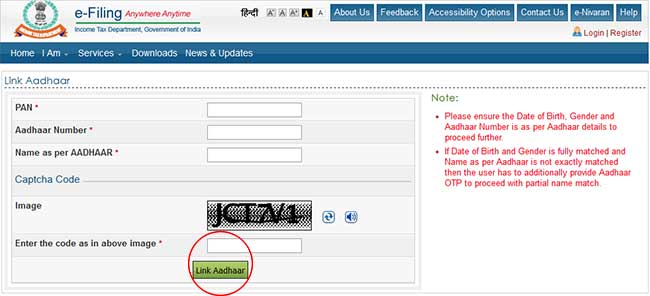 income tax site aadhaar pan link