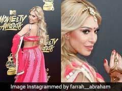 US Reality TV Star's Red Carpet Look: A <i>Lehenga</i>, <i>Bindi</i> And <i>Mehendi</i>