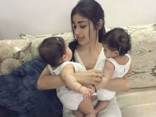 Mouni Roy Visits <i>Naagin</i> Co-Star Karanvir Bohra's Twins. Pics Are Adorable