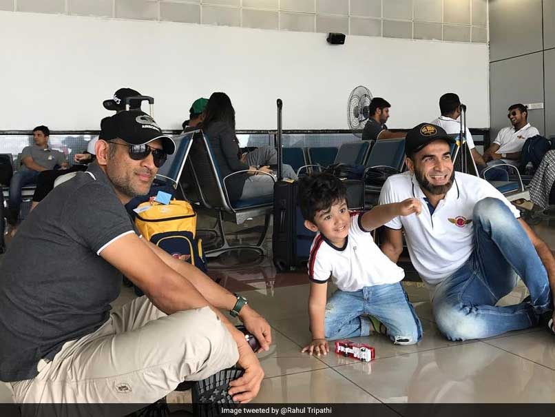 Dhoni Sits On Floor To Play With Tahir