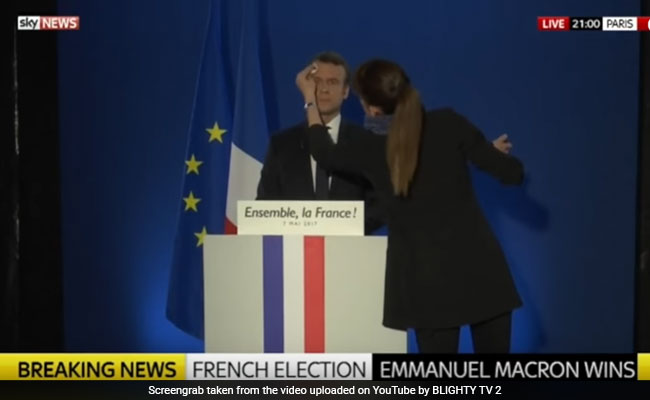 One For The Bloopers: Emmanuel Macron Practises Victory Speech. On Air.