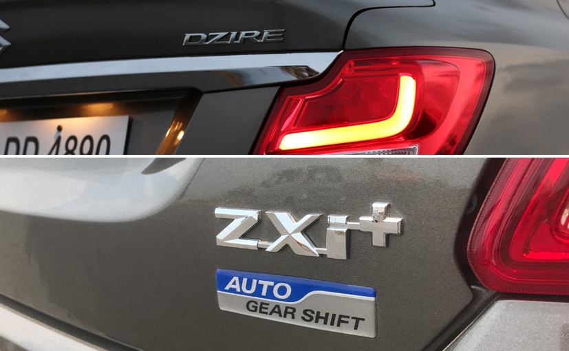 new maruti suzuki dzire automatic badges