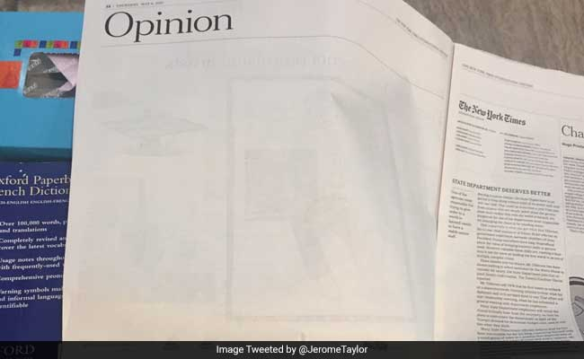 Blank Space Replaces New York Times Article Criticising Pakistani Army