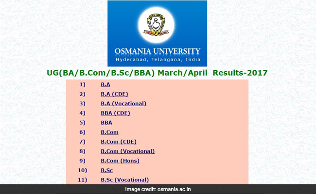 Osmania University Degree Exam BA, BSc, BCom, BBA Result 2017