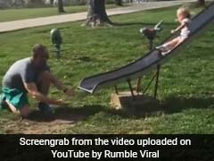You Had One Job: Dad Fails Simple Task Of Catching Daughter Off Slide