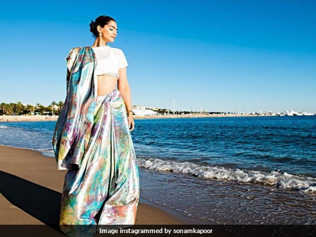 Cannes Film Festival: Sonam Kapoor Makes Her First Appearance In A Prismatic Saree