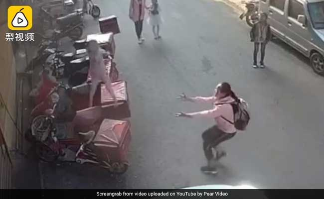 On Camera, Schoolgirl Tries To Catch Toddler Falling From Third Floor