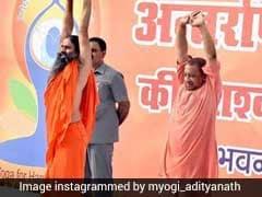Uttar Pradesh Chief Minister Yogi Adityanath, Governor Ram Naik Practice Yoga With Baba Ramdev