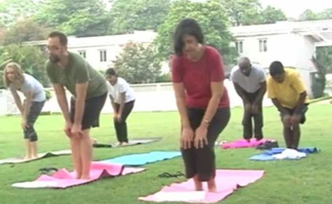 Quite A Stretch: American Embassy Rolls Out Mats To Celebrate International Yoga Day
