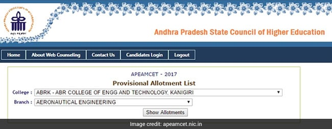 ap eamcet provisional allotment list