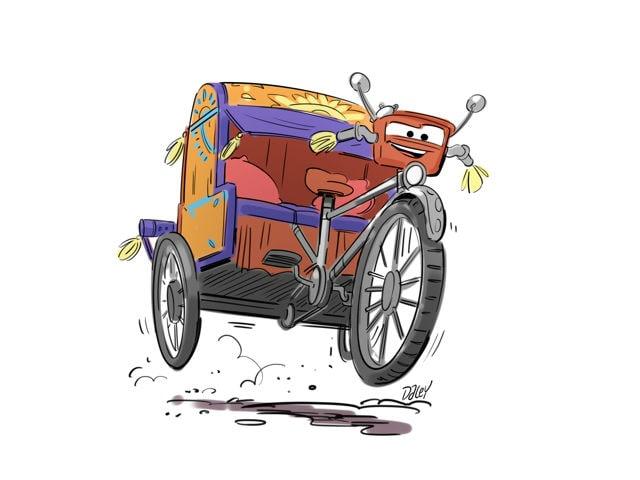 Pixar artist Michael Daley imagines Indian rickshaw in 'Cars 3' character