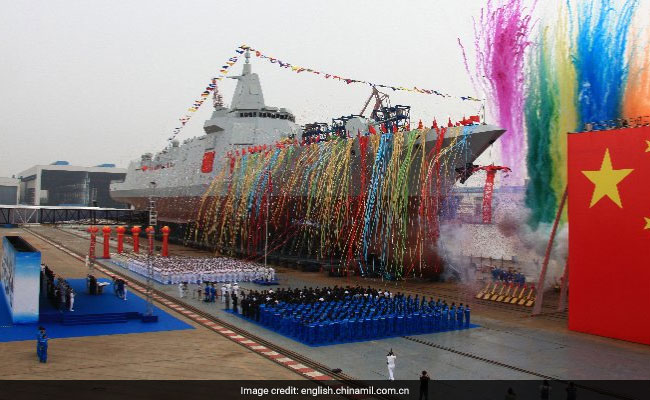 New made-in-China navy destroyer launches in Shanghai