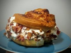 1,770 Calorie Cinnamon Roll Ice Cream Sandwich Topped with Bacon is the New Internet Frenzy