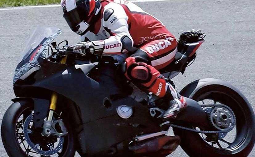 first images of ducati v4 superbike in action - ndtv carandbike