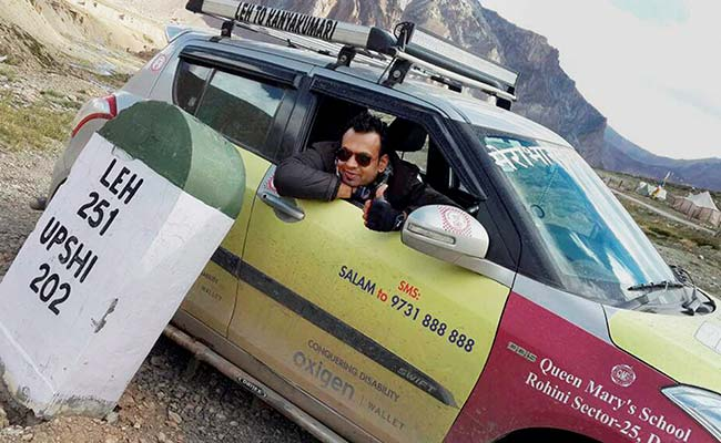 Delhi's Paraplegic Driver Zooms From Leh To Kanyakumari In Record Time