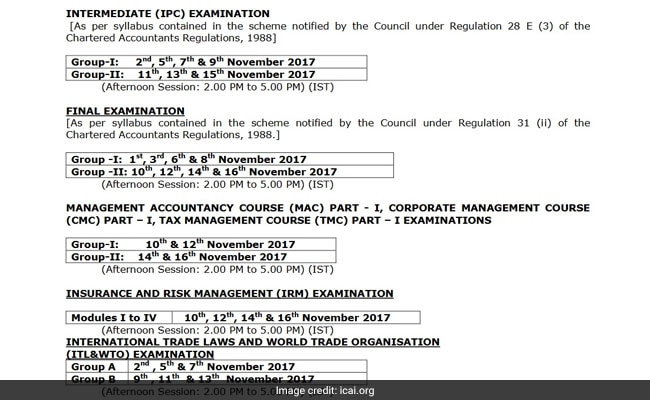 icai ca ipc final november 2017 exams schedule