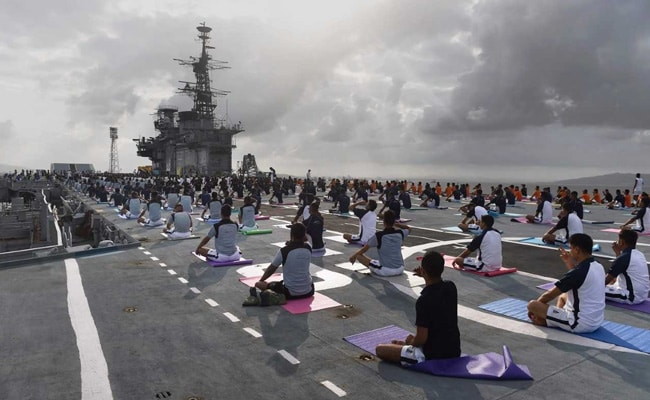 International Yoga Day: Naval Officers Participate Aboard INS Viraat