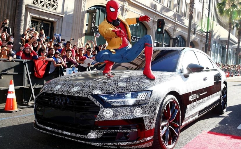 next generation audi a8 makes an appearance at spider man homecoming premiere ndtv carandbike. Black Bedroom Furniture Sets. Home Design Ideas