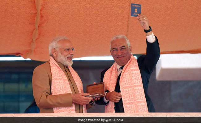PM Modi Presents Overseas Citizen of India Card To Portugal's Indian-Origin PM Costa