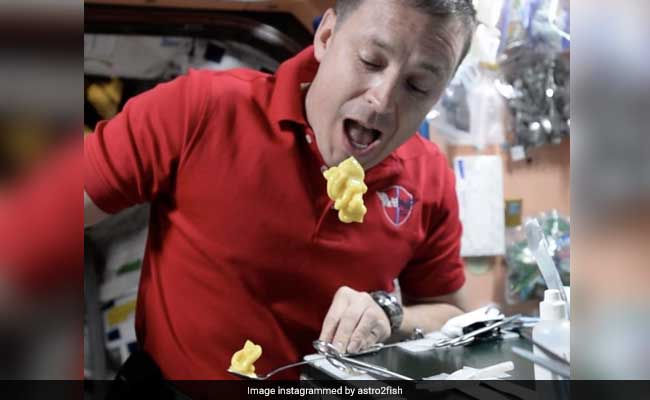 Astronaut shows 'proper way' to eat pudding in space