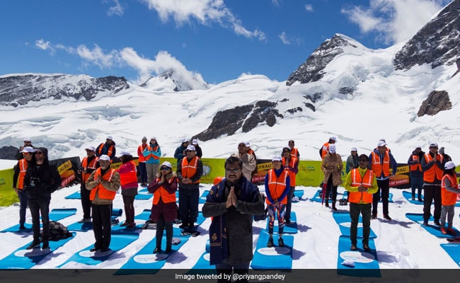 BJP General Secretary Ram Madhav Takes Part In Yoga Hosted In Swiss Alps