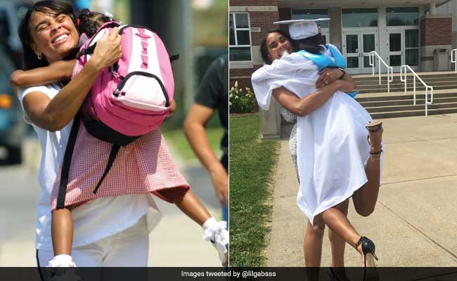 Viral: Teen Recreates Kindergarten Pic With Mum At High School Graduation