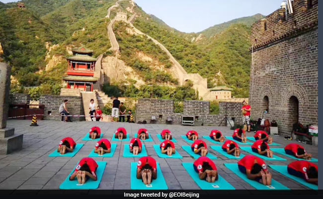 yoga on china wall