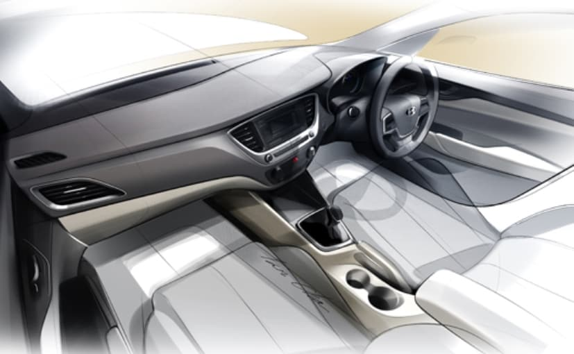 Design sketch of the new Hyundai Verna's cabin