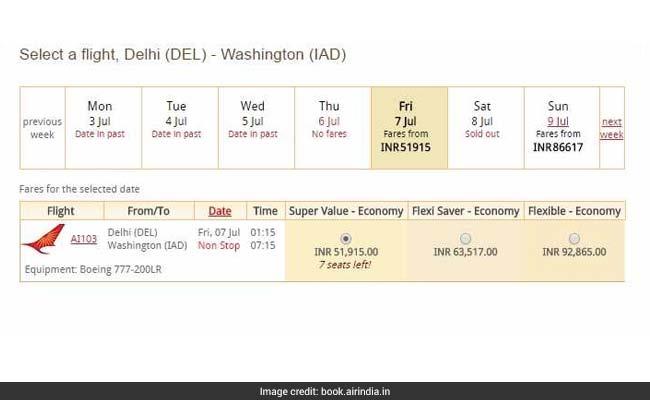air india delhi washington flight