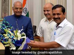 Delhi Lt Governor Anil Baijal, Chief Minister Arvind Kejriwal, Deputy Manish Sisodia Meet President Kovind