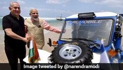 PM Narendra Modi's Drive With PM Benjamin Netanyahu In Israel's Gal-Mobile