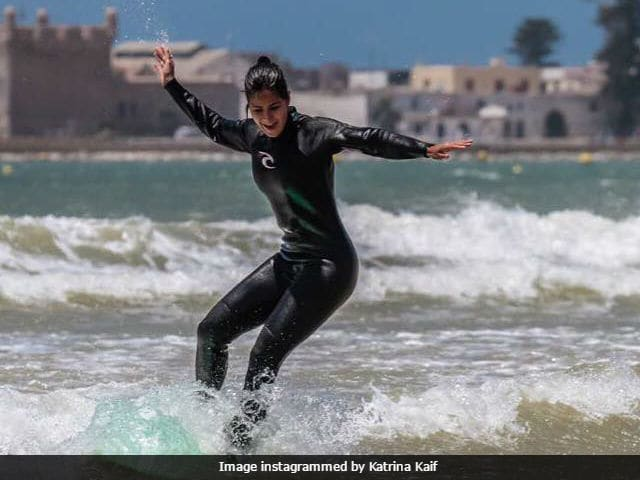 Watch Katrina's maiden surf attempt in Morocco; she looks thrilled