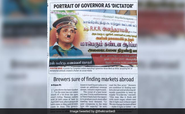 Kiran Bedi Is 'Hitler' In Posters Used In Congress Protests In Puducherry