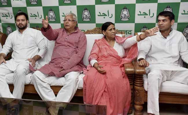 Lalu's Party Decides Son Tejashwi Won't Quit Despite Corruption Charges