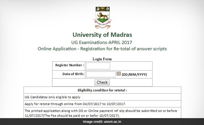 University of Madras UG April 2017 Results: Apply For Revaluation Till July 10 @ Unom.ac.in