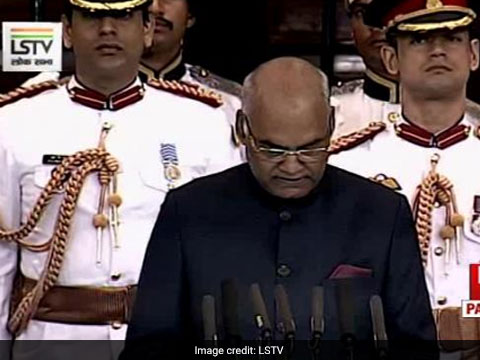 President Ram Nath Kovind says \'grateful to all for giving me this responsibility\'. Tap for live updates