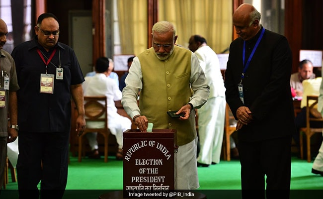 PM Modi was among the first to vote in Parliament for the presidential election