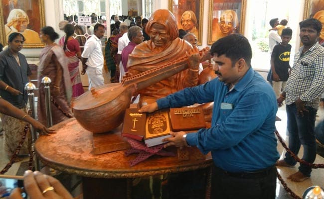 Row after PM Modi unveils Kalam statue with Gita