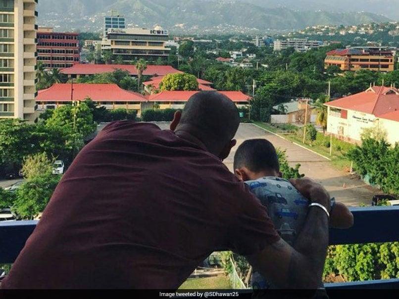 India Vs West Indies: Shikhar Dhawan Enjoys Kingstons Natural Beauty With Son Zoravar