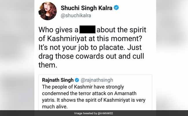 Amarnath Yatra attack: Rajnath Singh takes down Twitter troll over Kashmiriyat comment