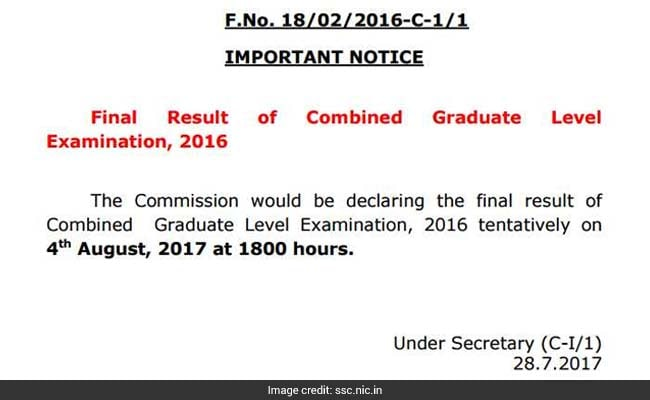 ssc cgl 2016 result notice