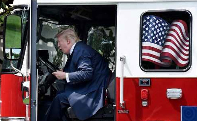 'Where's The Fire?' Asks Donald Trump, Seated In Red Fire Truck. See Pics