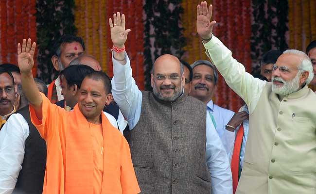 UP Chief Minister Yogi Adityanath BJP President Amit Shah and Prime Minister Narendra Modi