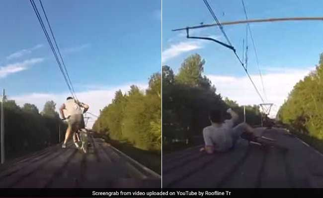 Watch: Cyclists Attempt Riding On Roof Of Moving Train