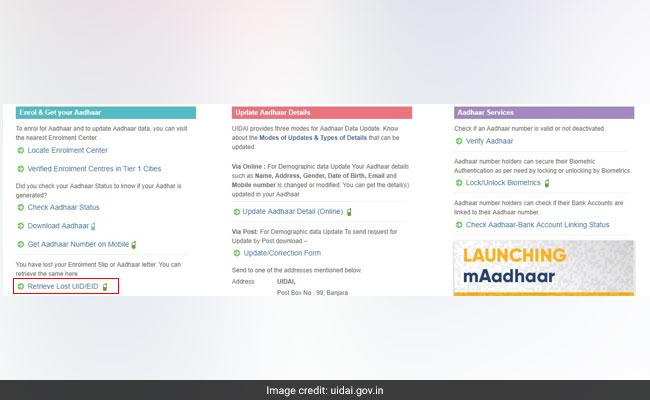 aadhaar on mobile 650 uidai website